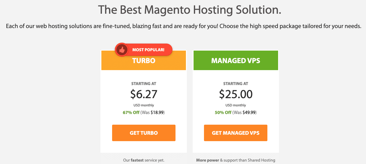 A2 Hosting Magento Pricing Plans